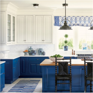 kitchen-design-in-Stockbridge-ga-cobalt-blue-base-cabinets-ivory-top-cabinets-butcher-block-island